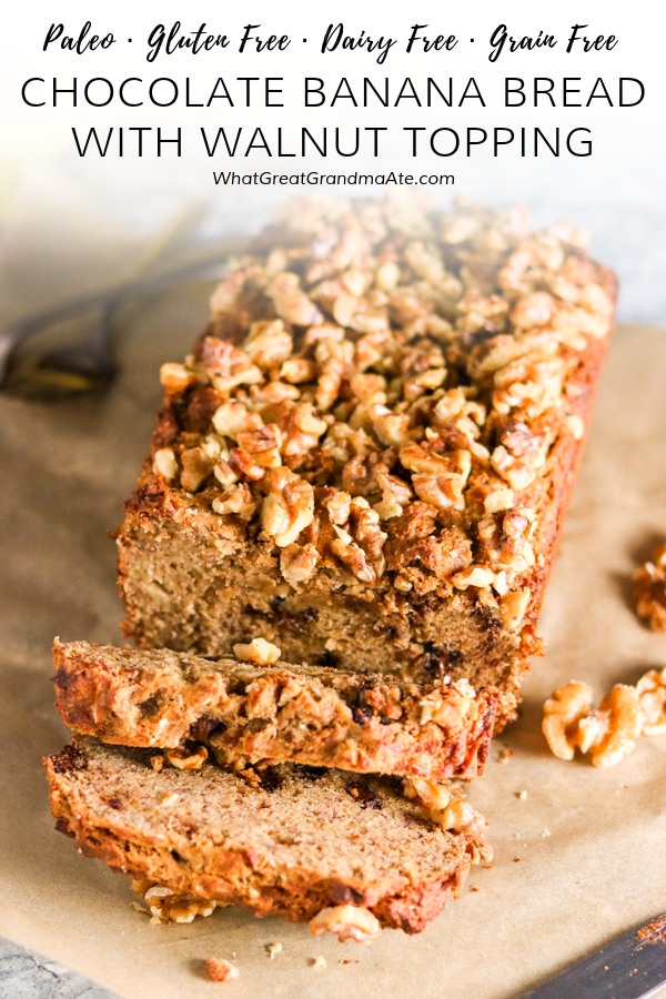 This Paleo Chocolate Banana Bread is delicious and crunchy from the walnut topping, and great for breakfast or any time of the day. It's a comforting recipe all year round! #paleo #glutenfree #grainfree #dairyfree #paleobreakfast #paleodessert #bananabread