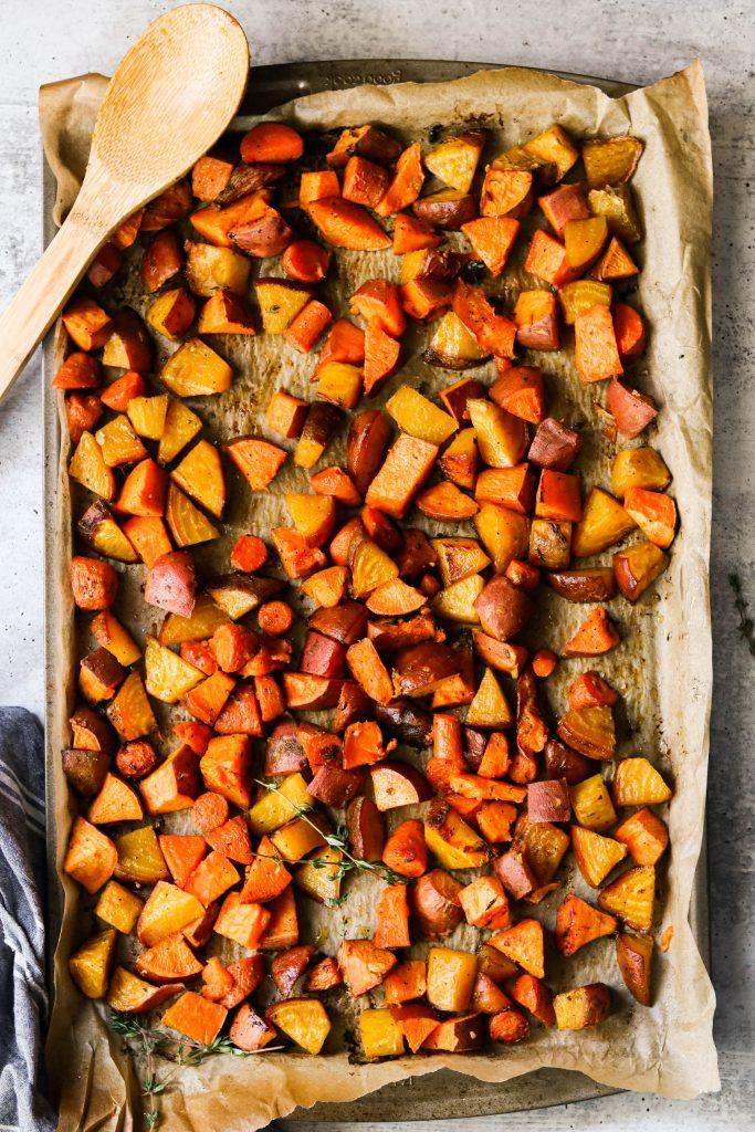 sheet pan root vegetables roasted and tender