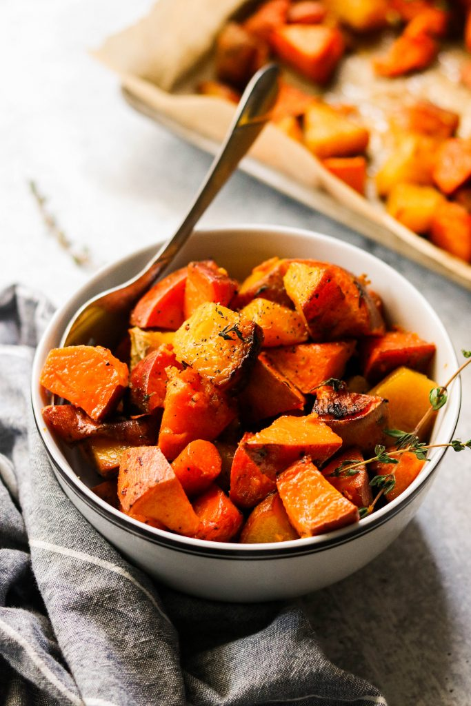 paleo roasted root vegetables in a bowl