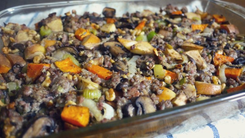 Sausage, Sweet Potato & Apple Paleo Thanksgiving Stuffing