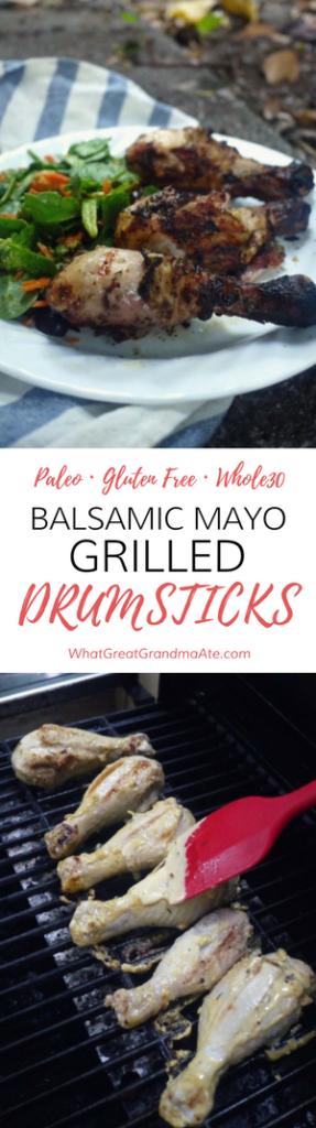 Paleo Gluten Free Whole30 Balsamic Mayo Drumsticks