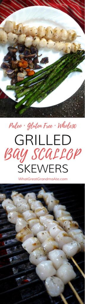 Paleo Gluten Free Whole30 Grilled Bay Scallop Skewers