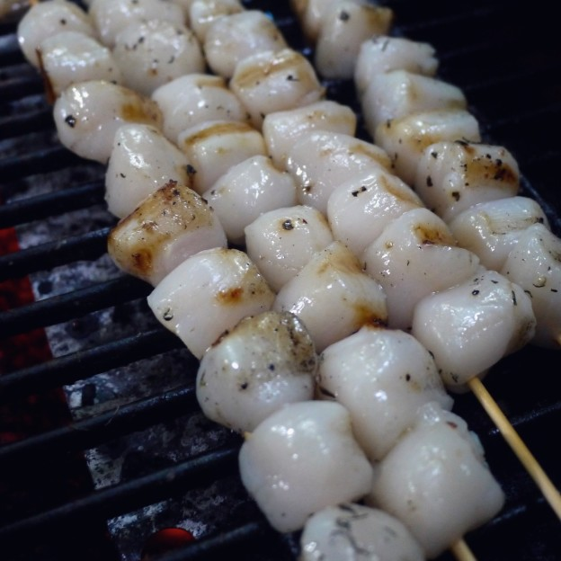 Grilled Bay Scallops Skewers