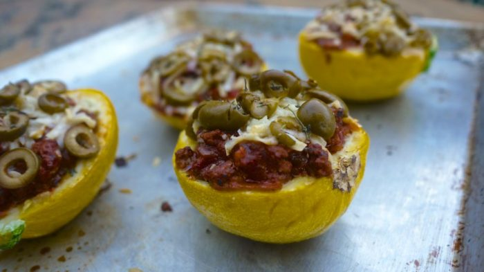 pizza stuffed summer squash