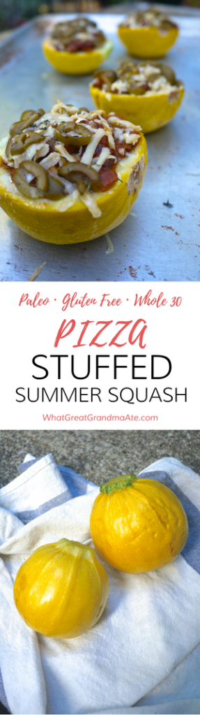 Paleo Gluten Free Whole30 Pizza Stuffed Summer Squash