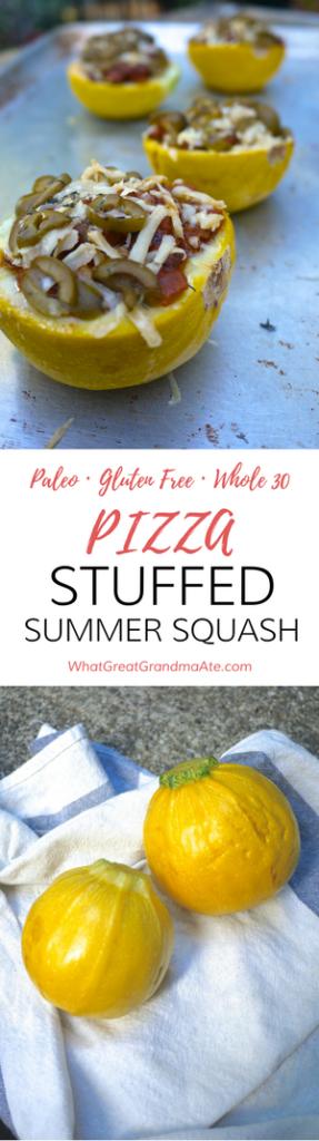 Paleo Gluten Free Whole30 Pizza Stuffed Summer Squash