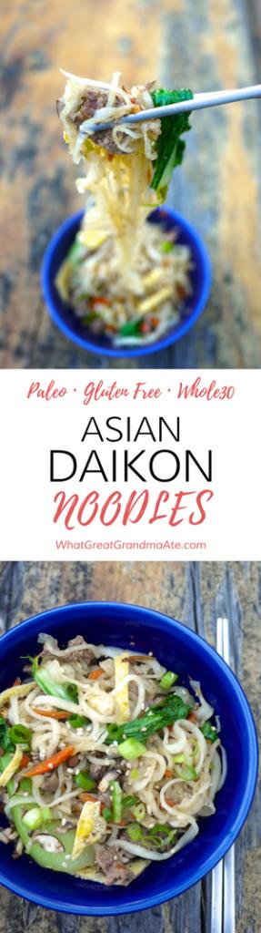 Paleo Gluten Free Whole30 Asian Daikon Noodles