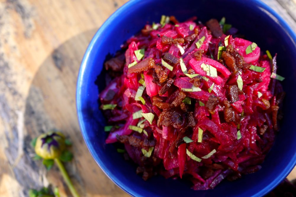 creamy bacon beet salad