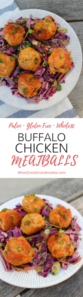 Paleo Gluten Free Whole30 Buffalo Chicken Meatballs