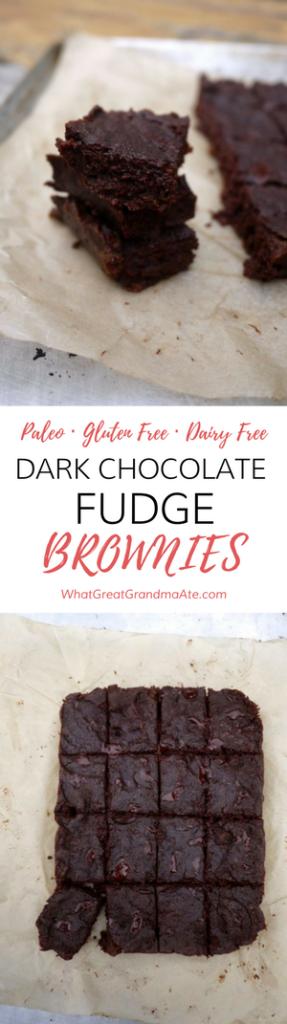 Paleo Gluten Free Dark Chocolate Fudge Brownies