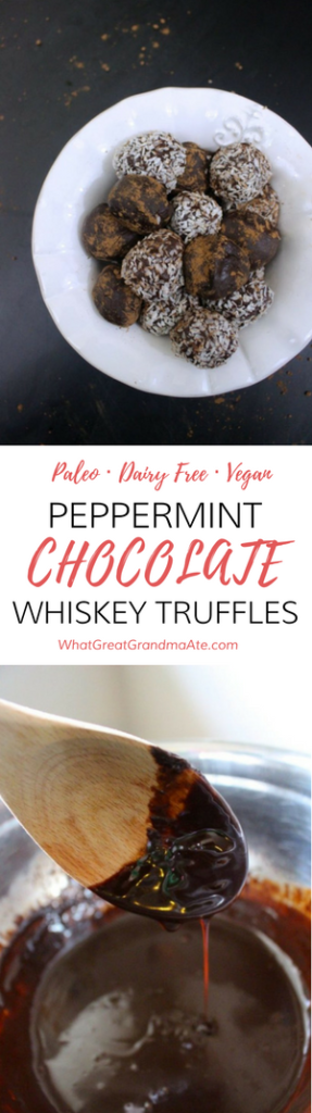 Peppermint Chocolate Whiskey Truffles Paleo Dairy Free Vegan