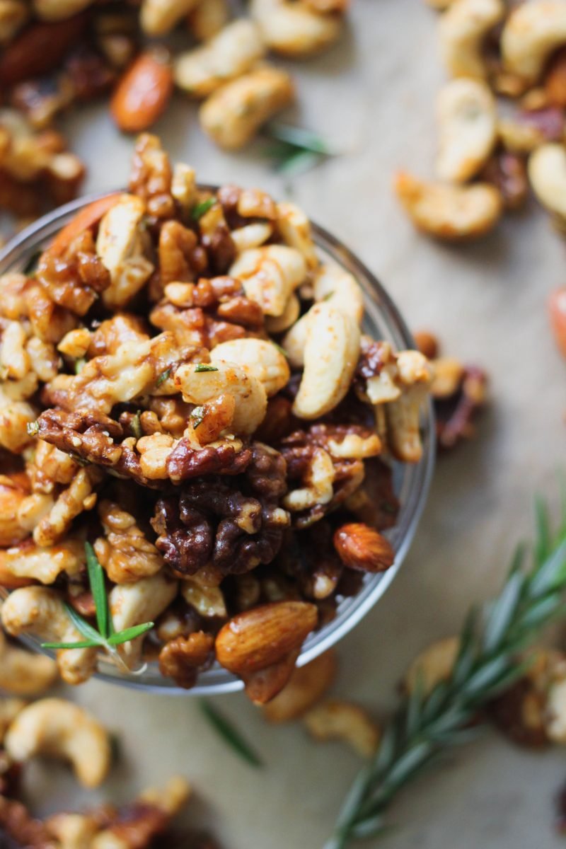 Spiced Maple Rosemary Paleo Mixed Nuts
