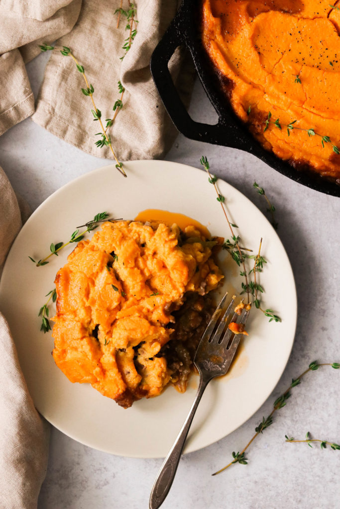 Low carb shepherd's pie on a plate