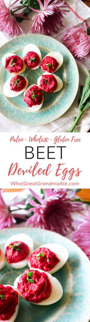 Paleo and Whole30 Beet Deviled Eggs. These are perfect for Valentine's Day or Easter Sunday! 
