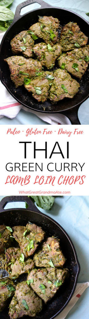 Paleo Whole30 Thai Green Curry Lamb Loin Chops