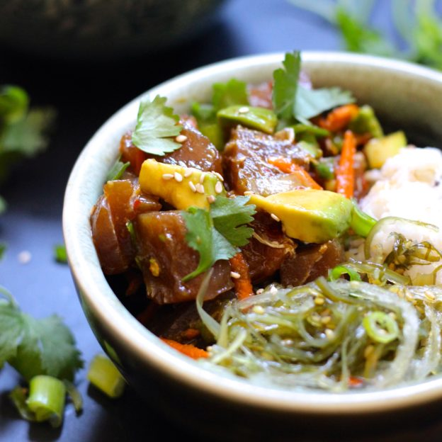 Avocado Ahi Tuna Poke Bowl