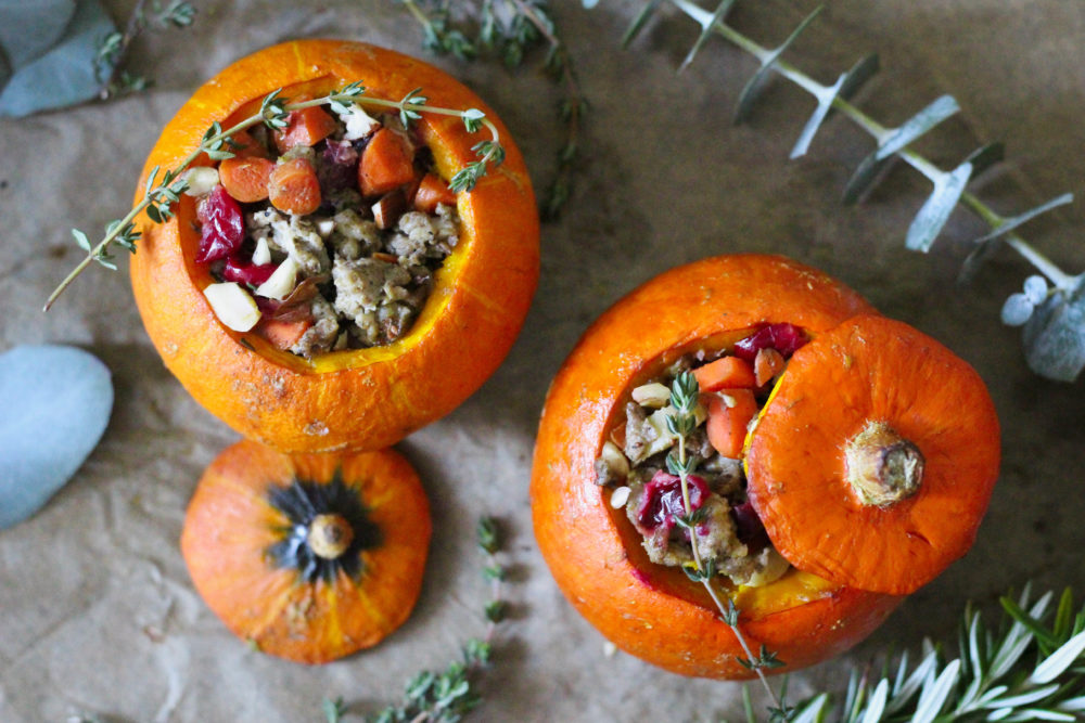 Paleo Gluten Free Whole30 Thanksgiving Stuffed Pumpkin