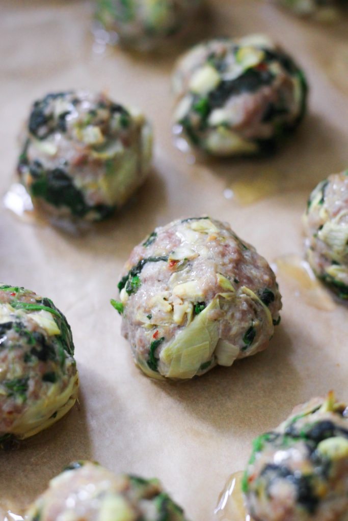 Paleo Whole30 Spinach Artichoke Meatballs
