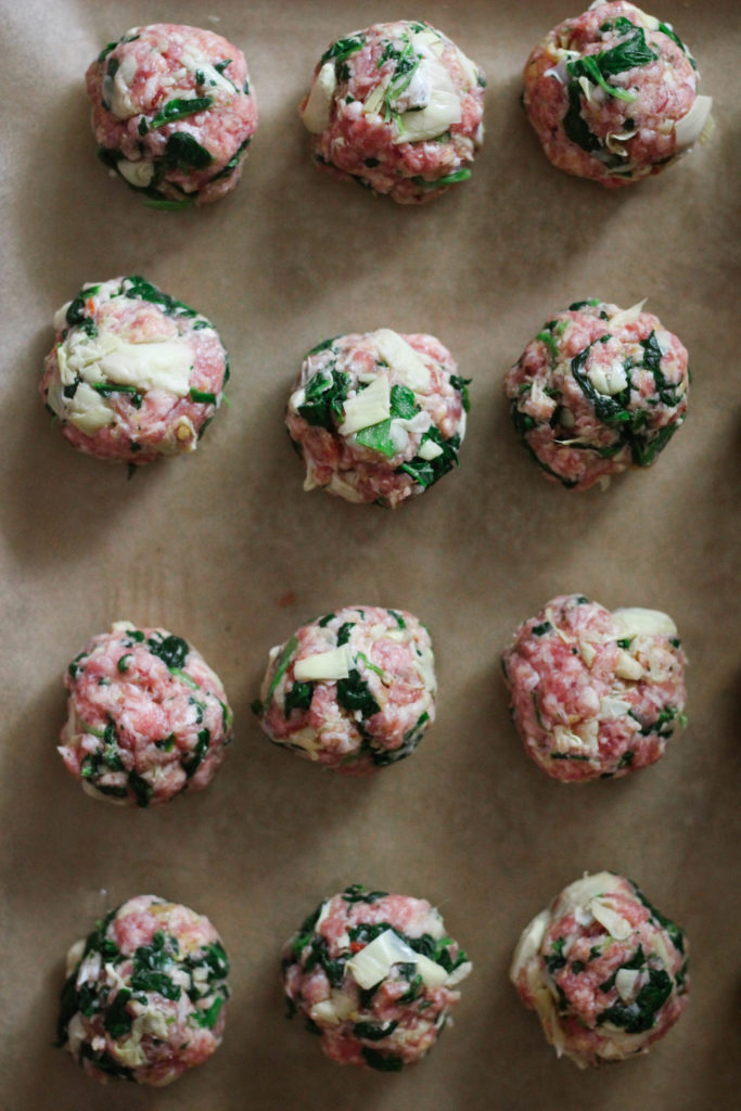 Paleo Whole30 Spinach Artichoke Meatballs