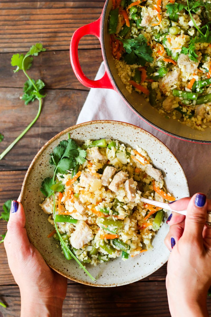 Paleo Whole30 Cauliflower Pork Fried Rice
