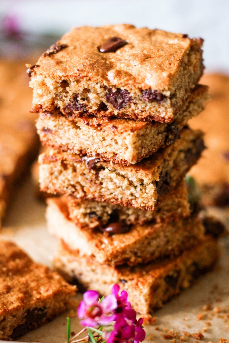 Gluten Free Paleo Sheet Pan Chocolate Chip Blondies