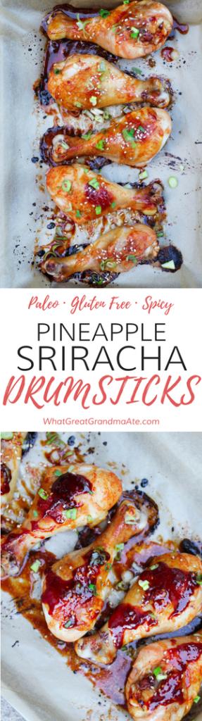 Paleo, Gluten Free Pineapple Sriracha Drumsticks - so deliciously spicy!