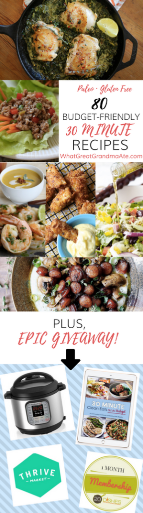 Paleo Gluten Free Budget-Friendly 30 Minute Meals Recipes + GIVEAWAY