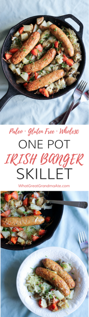 Celebrate St. Patrick's Day with this Paleo Whole30 One Pot Irish Banger Skillet!