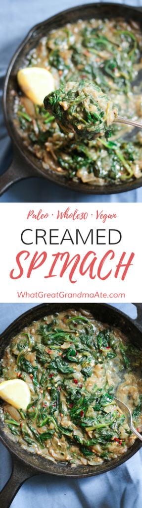 Paleo Whole30 Vegan Creamed Spinach Side Dish