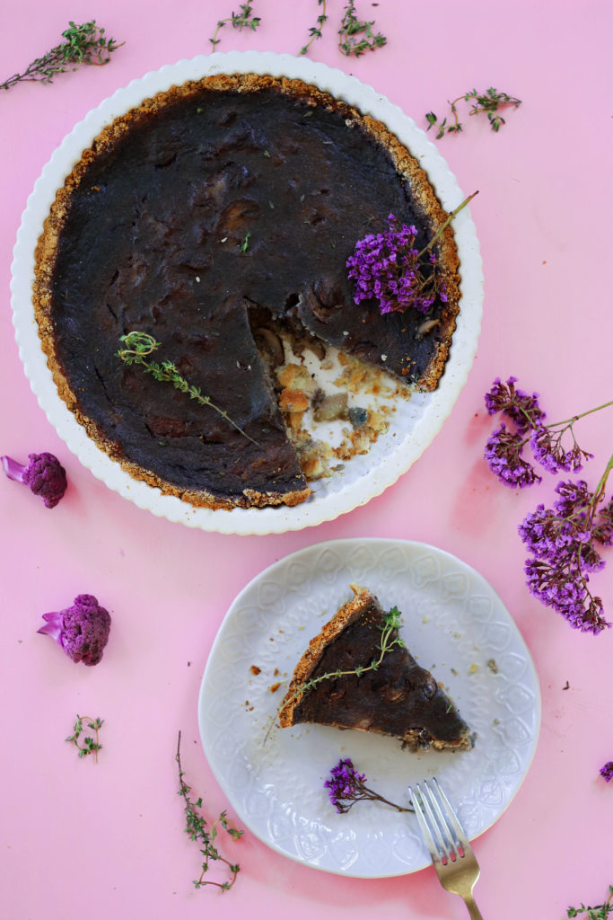 Purple Cauliflower Mushroom Paleo Quiche
