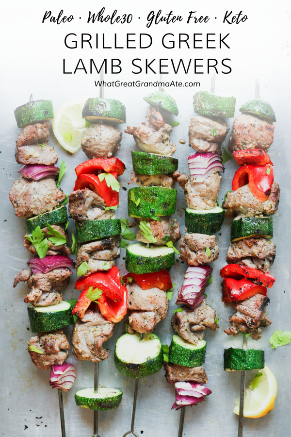 Whole30-friendly and paleo marinated grilled greek lamb skewers are so lemony, flavorful, and delicious, and perfect for the summer! #paleo #whole30 #keto #glutenfree #Grillrecipe #paleogrilling #keto #lowcarb #lchf