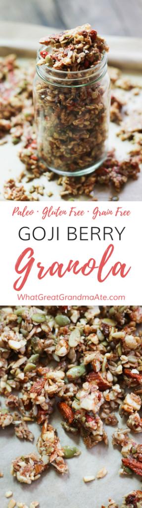 Goji Berry Paleo Granola (Gluten Free, Grain Free)
