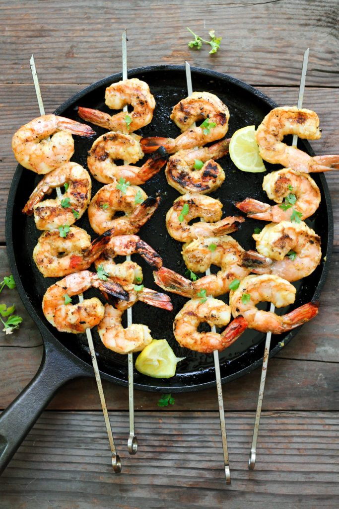 Paleo Lemon Curry Shrimp Skewers