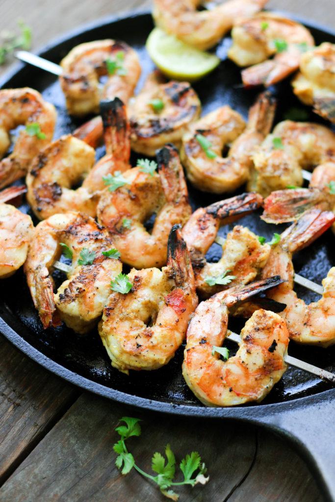 Paleo Lemon Curry Shrimp Skewers