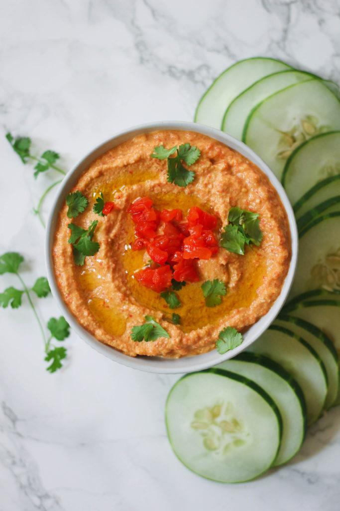 Roasted Red Pepper Zucchini Hummus paleo vegan