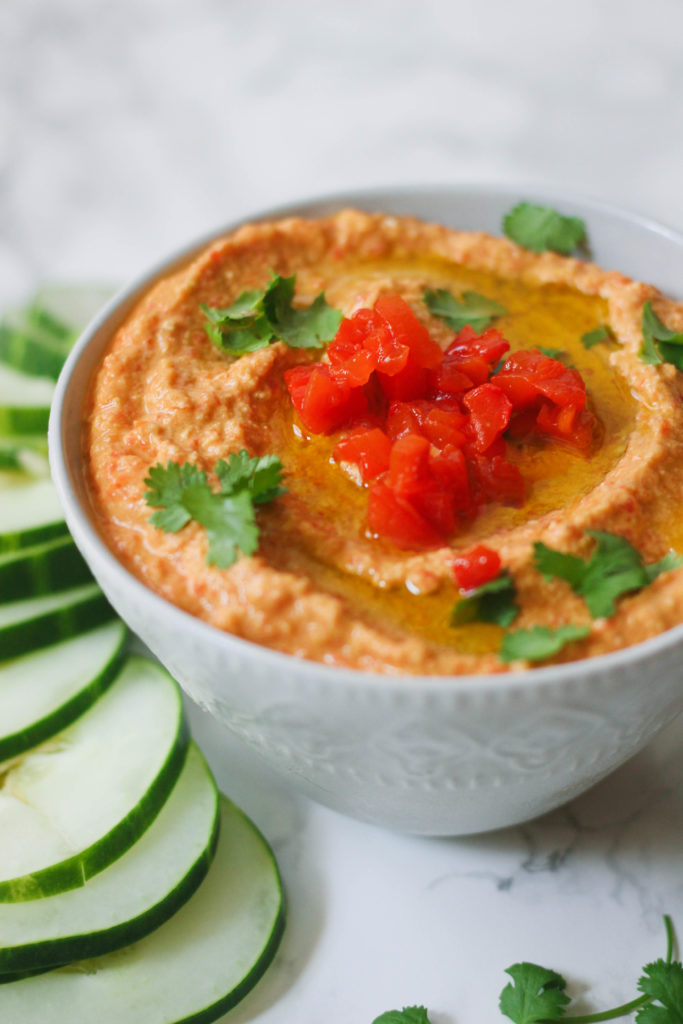 Roasted Red Pepper Zucchini Hummus paleo vegan