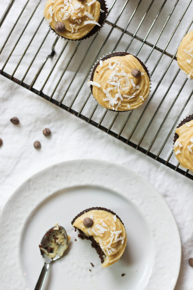 Paleo Chocolate Cupcakes with Maple Vanilla Frosting