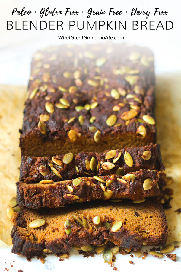 Warm up your belly in the morning with a cup of coffee and this grain free and paleo Blender Pumpkin Bread. So easy to make and so flavorful! #paleo #glutenfree #dairyfree #breakfast #pumpkindessert #fallrecipes #realfood #glutenfreebaking