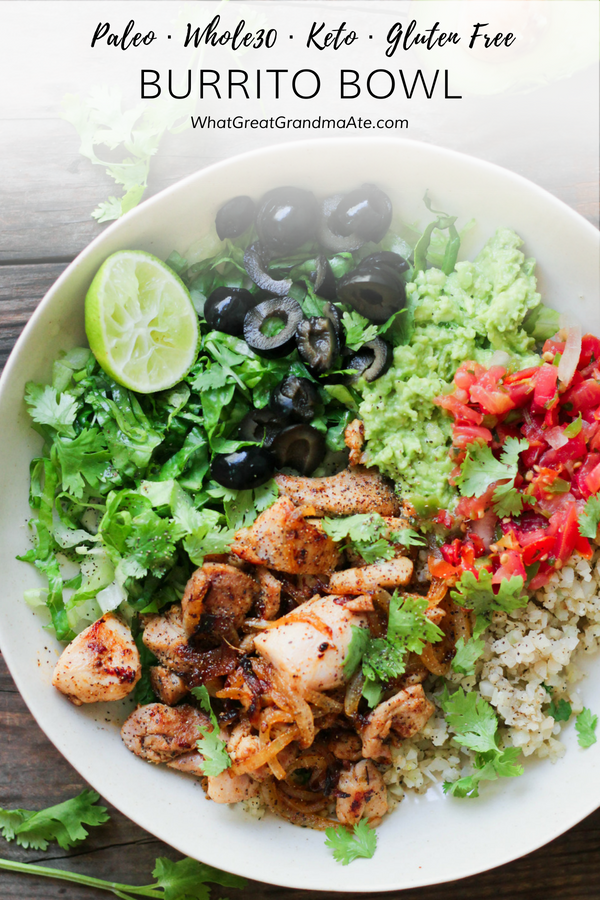 Just because you are grain-free doesn't mean you can't enjoy a delicious burrito bowl. This Whole30and Paleo Burrito Bowl is so easy and full of flavor! #paleo #keto #mexicanfood #whole30 #30minuterecipe #glutenfree #healthy