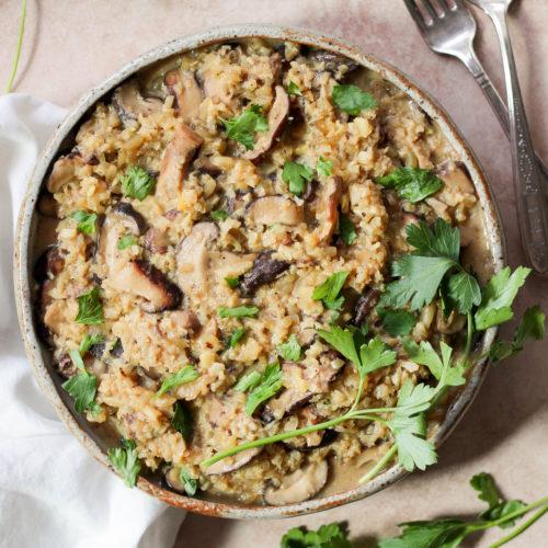 Instant Pot Paleo Cauliflower Mushroom Risotto (Keto, AIP, Vegan, Whole30)