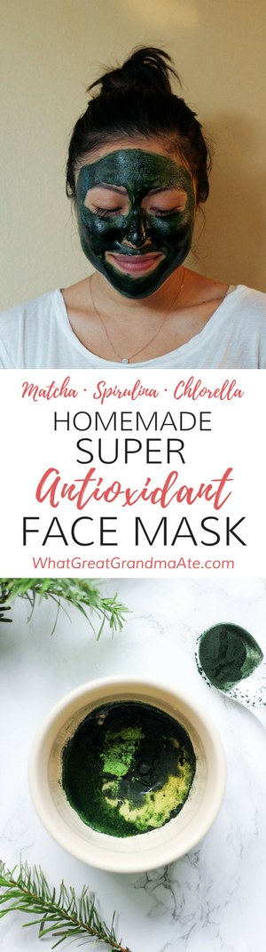 Homemade Super Antioxidant Face Mask for Safe and Natural Skin Care. This toxin-free DIY face mask is great for anti-aging and hydration, and the ingredients include matcha green tea, spirulina, and chlorella!