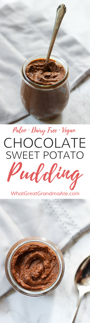 Paleo Vegan Chocolate Sweet Potato Pudding (Gluten Free Dessert, Dairy Free)
