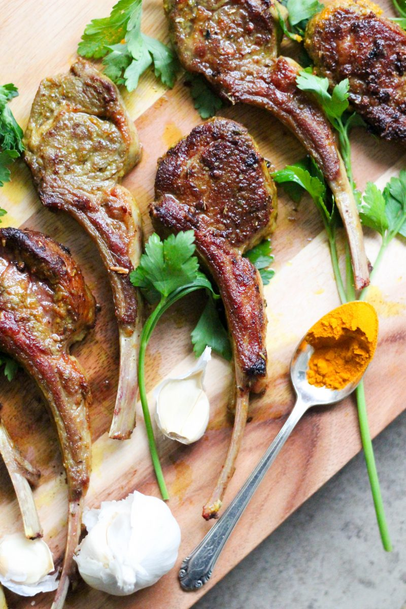 Turmeric Garlic Pan Fried Lamb Chops