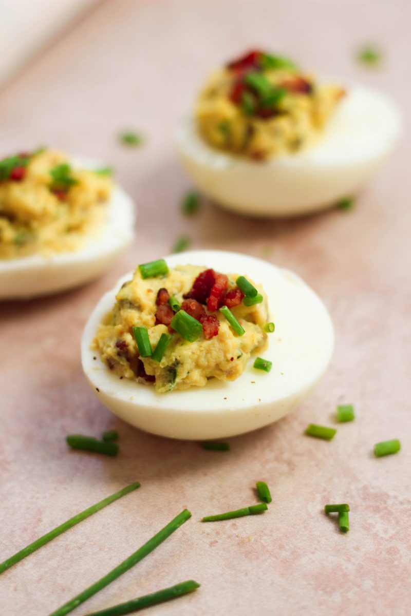 Paleo Bacon Ranch Deviled Eggs