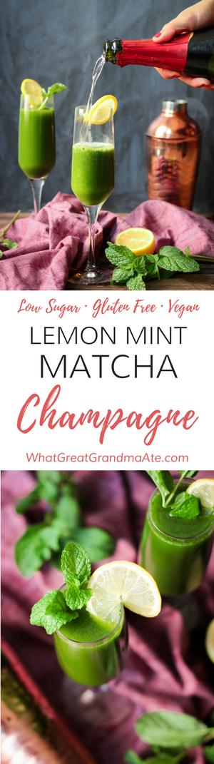 Low Sugar Gluten Free Cocktail: Lemon Mint Matcha Champagne