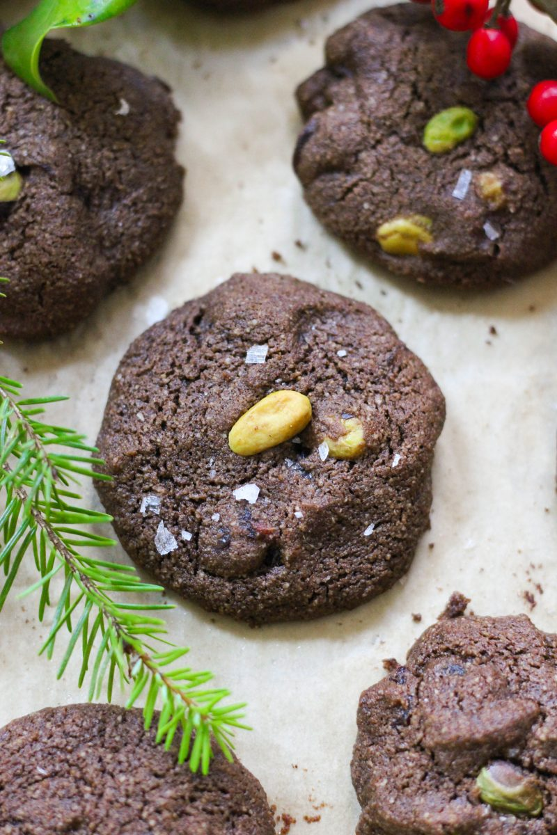 Paleo Cranberry Pistachio Chocolate Cookies