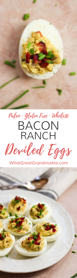 These Paleo Bacon Ranch Deviled Eggs (Gluten Free, Whole30) are a great holiday appetizer or game day eats!