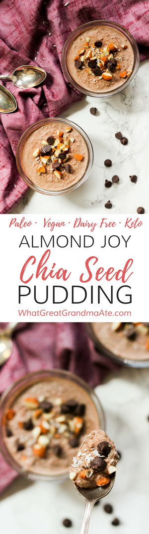 This #Paleo and#Keto Almond Joy Chia Seed Pudding is a delicious and healthy dessert or breakfast that comes together quickly and easily! #Glutenfree #dairyfree #lowcarb