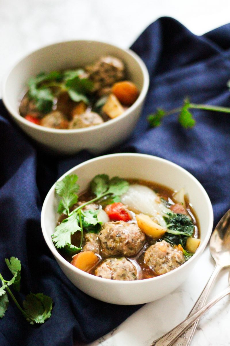Slow Cooker Paleo Wonton Meatball Stew