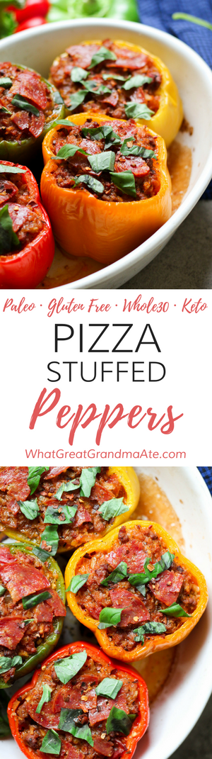 Whole30 Paleo Pizza Stuffed Peppers (Gluten Free, Keto)